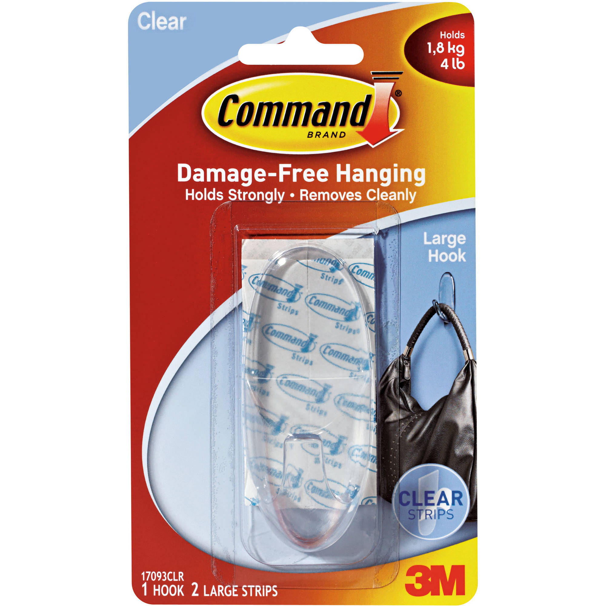 Command Large Clear Hook with Clear Strips, 1 Hook, 2 Strips, 17093CLR
