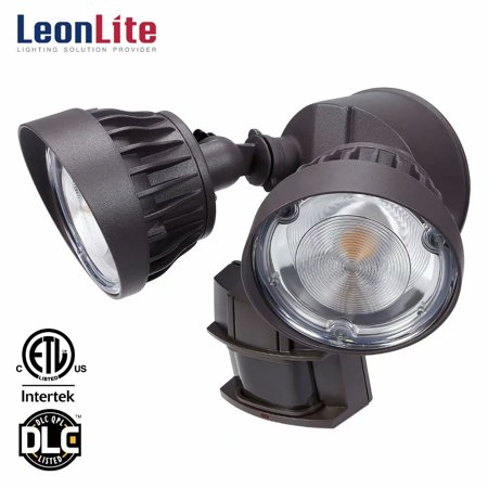 LEONLITE 30W Dual-Head Motion Activated LED Security Light with Photocell, 3300lm Waterproof Outdoor Flood Light, 5000K Daylight, Brown ()