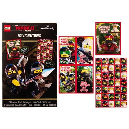 Hallmark Kids Ninjago Valentine's Day Cards (32 Cards, 35 Stickers, 1 Teacher (Valentine's Day Fundraiser)