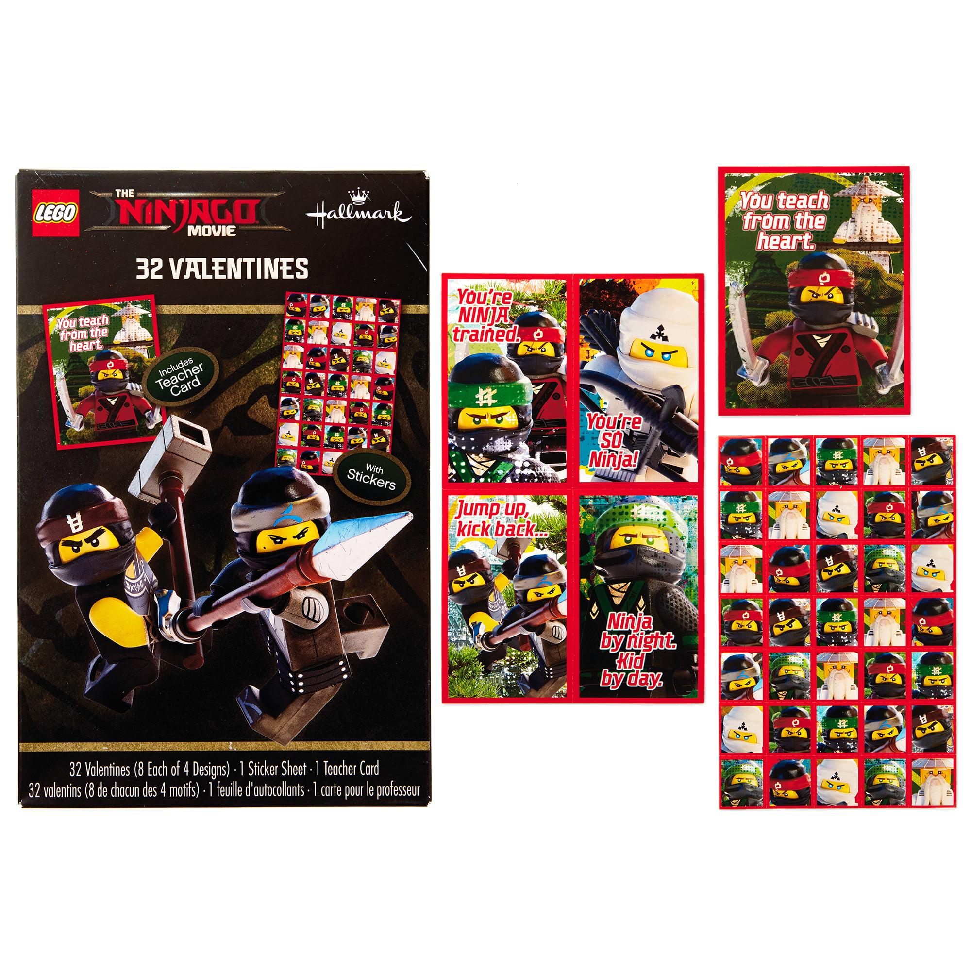 Hallmark Kids Ninjago Valentine's Day Cards (32 Cards, 35 Stickers, 1 Teacher Card)