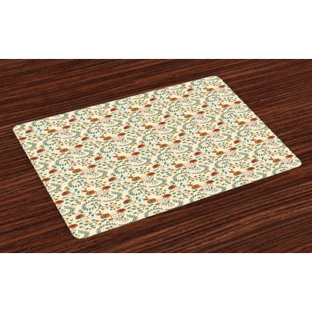 Floral Placemats Set of 4 Swirled Branches Blossom Leaves Shabby Chic Botanical Spring Foliage, Washable Fabric Place Mats for Dining Room Kitchen Table Decor,Apricot Ivory Jade Green, by - Jade Placemat