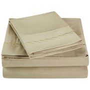Superior Light Weight and Super Soft Brushed Microfiber, Wrinkle Resistant Sheet Set with Cloud Embroidery