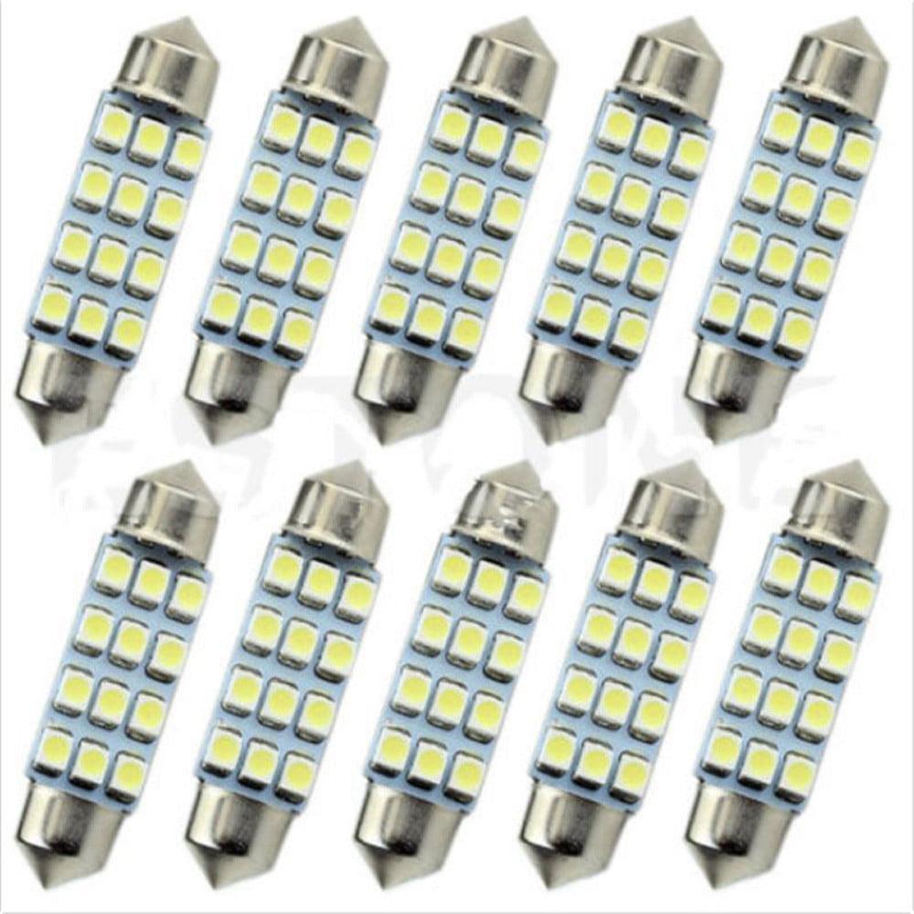DZT1968 10x Lot 41mm White 3528 12 SMD LED Car Interior Festoon Dome Bulb Lamp Light 12V