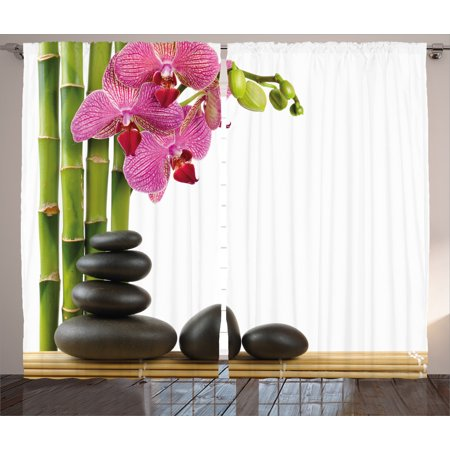 Spa Decor Curtains 2 Panels Set, Beautiful Pink Orchid with Bamboos and Black Hot Stone Massage Image, Window Drapes for Living Room Bedroom, 108W X 84L Inches, Pink Green and Black, by Ambesonne (Black Orchid Set)