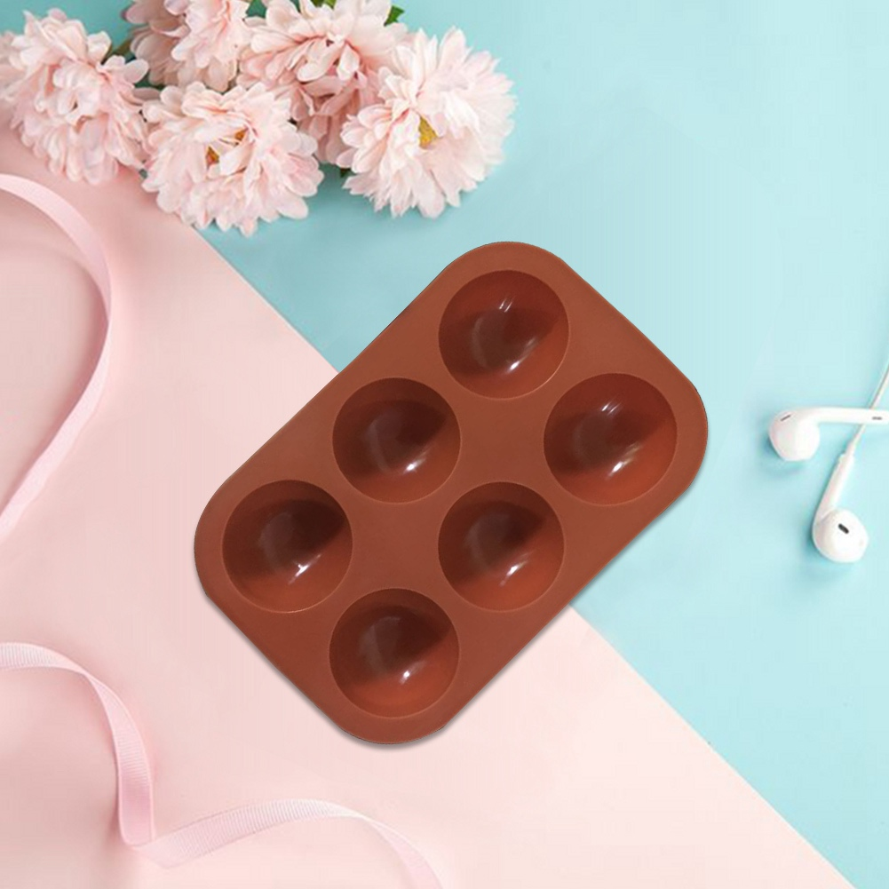3 Color-3 PCS Round Shape Half Sphere Mold Non Stick Jelly Pudding Cake Blekii 6 Holes Silicone Mold for Chocolate Handmade Soap