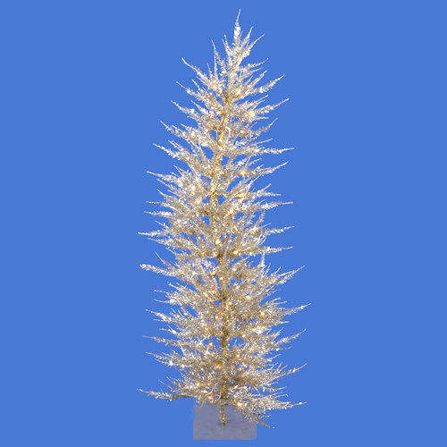 3' Pre-Lit Whimsical Champagne Artificial Laser Tinsel Christmas Tree - Clear Lights