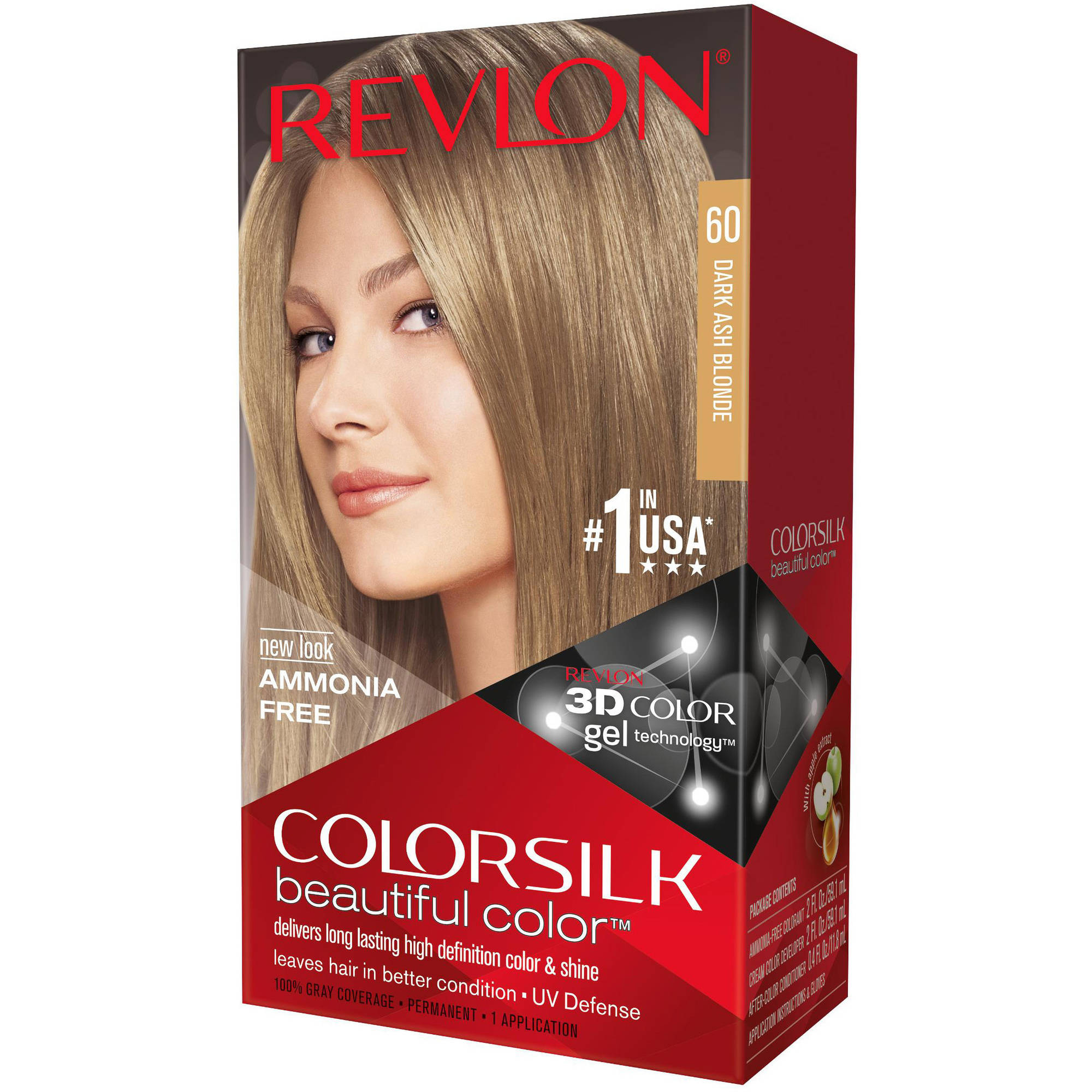 Revlon Colorsilk Beautiful Color Permanent Hair Color, 60 Dark Ash Blonde