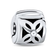 Floral Daisy Spacer Stopper Barrel Bead Charm for Women Teens Oxidized 925 Sterling Silver Snap Clasp Fits European Bracelet