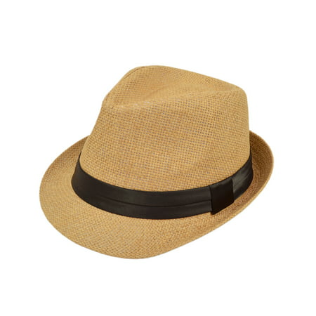 Classic Tan Fedora Straw Hat - Red And Black Fedora Hat