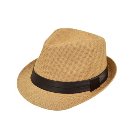 Classic Tan Fedora Straw Hat - Fendora Hats