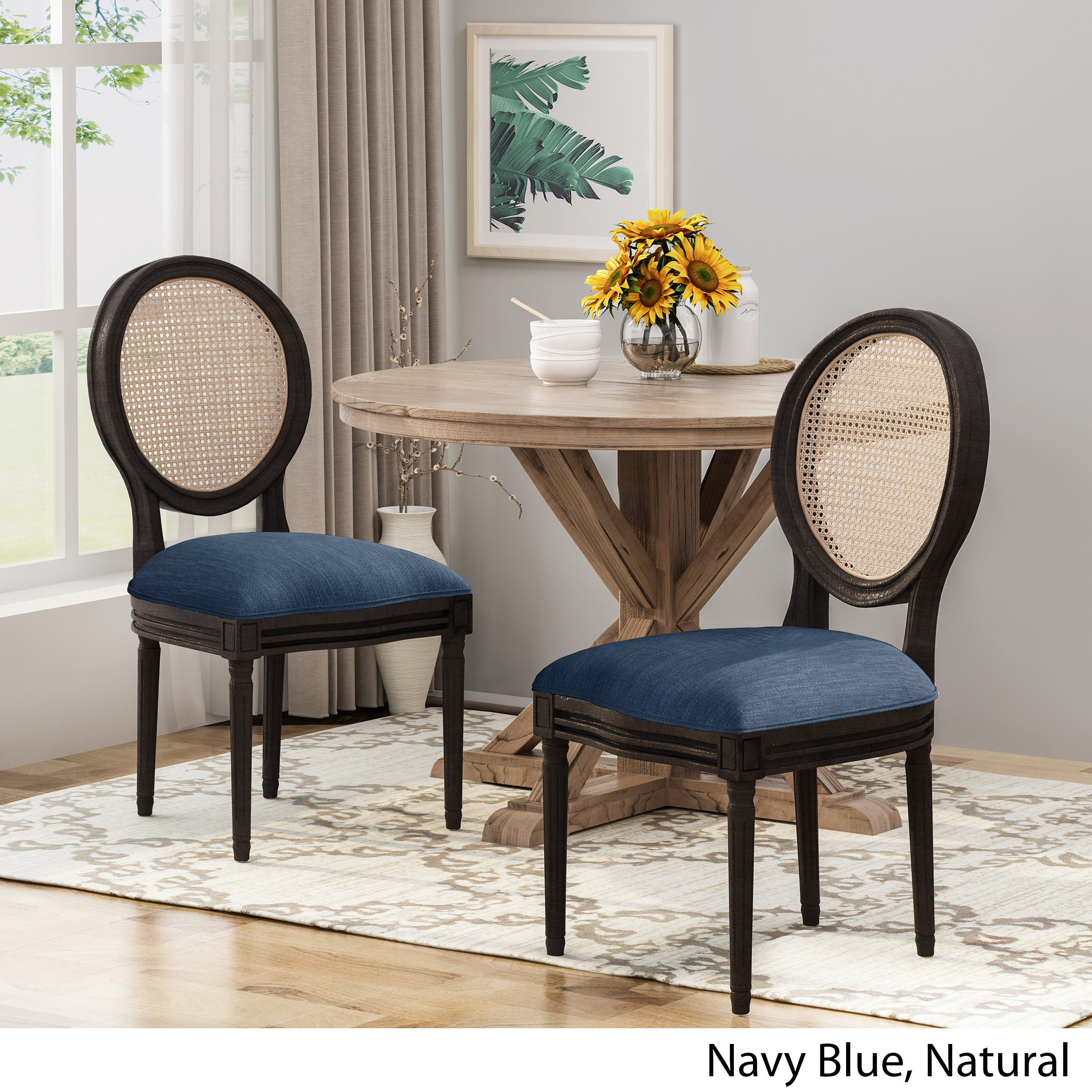 Laney Wooden Dining Chairs With Beige Cushions Set Of 2 Navy Blue And Natural Walmart Com Walmart Com