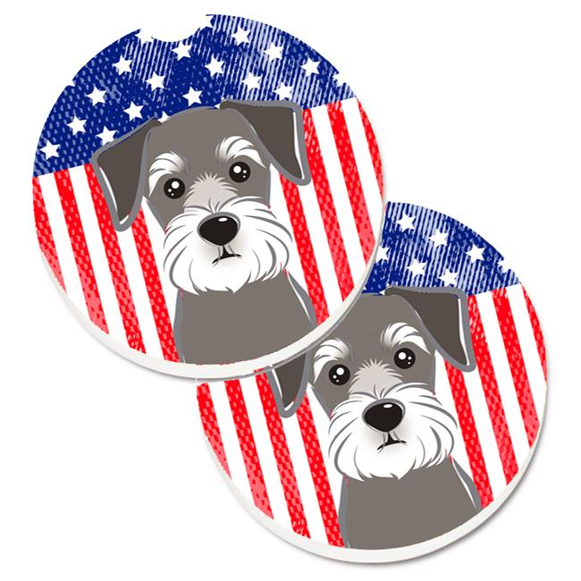 American Flag & Schnauzer Set of 2 Cup Holder Car Coaster - image 1 of 1