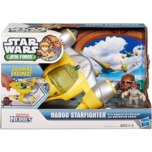 Star Wars Jedi Force Playskool Heroes Naboo Starfighter Vehicle with Anakin Skywalker and Destroyer Droid Figures