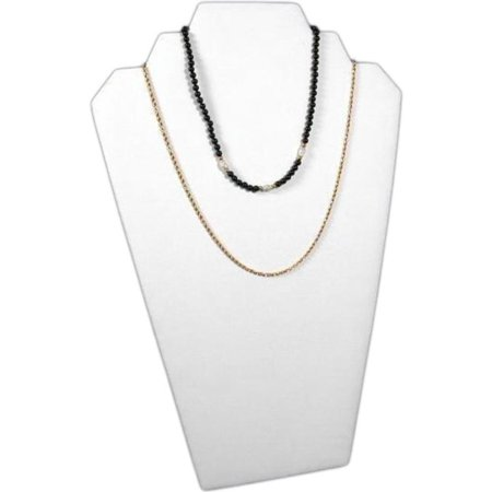 White Leather Padded 2 Tier Necklace Pendant Bust Showcase Display 12.5