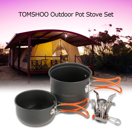 TOMSHOO Outdoor Camping Hiking Cookware with Mini Camping Piezoelectric Ignition Stove Backpacking Cooking Picnic Pot Set Cook