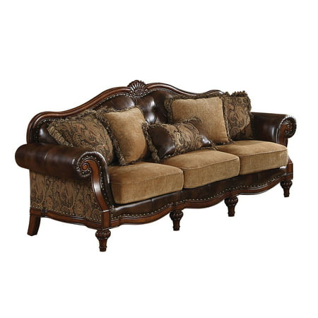 ACME Dreena Tufted Sofa with 5 Pillows in Brown Chenille
