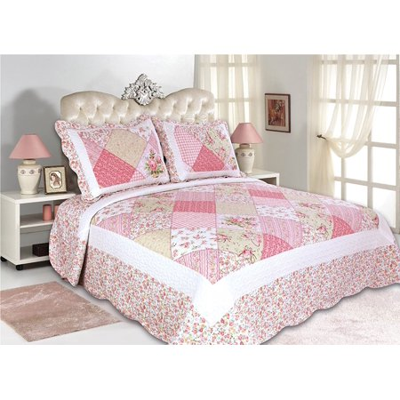 All for You 3pc Reversible Quilt Set, Bedspread, and Coverlet with Flower Prints-4 different sizes-Pink Patchwork Prints ( full/queen 86