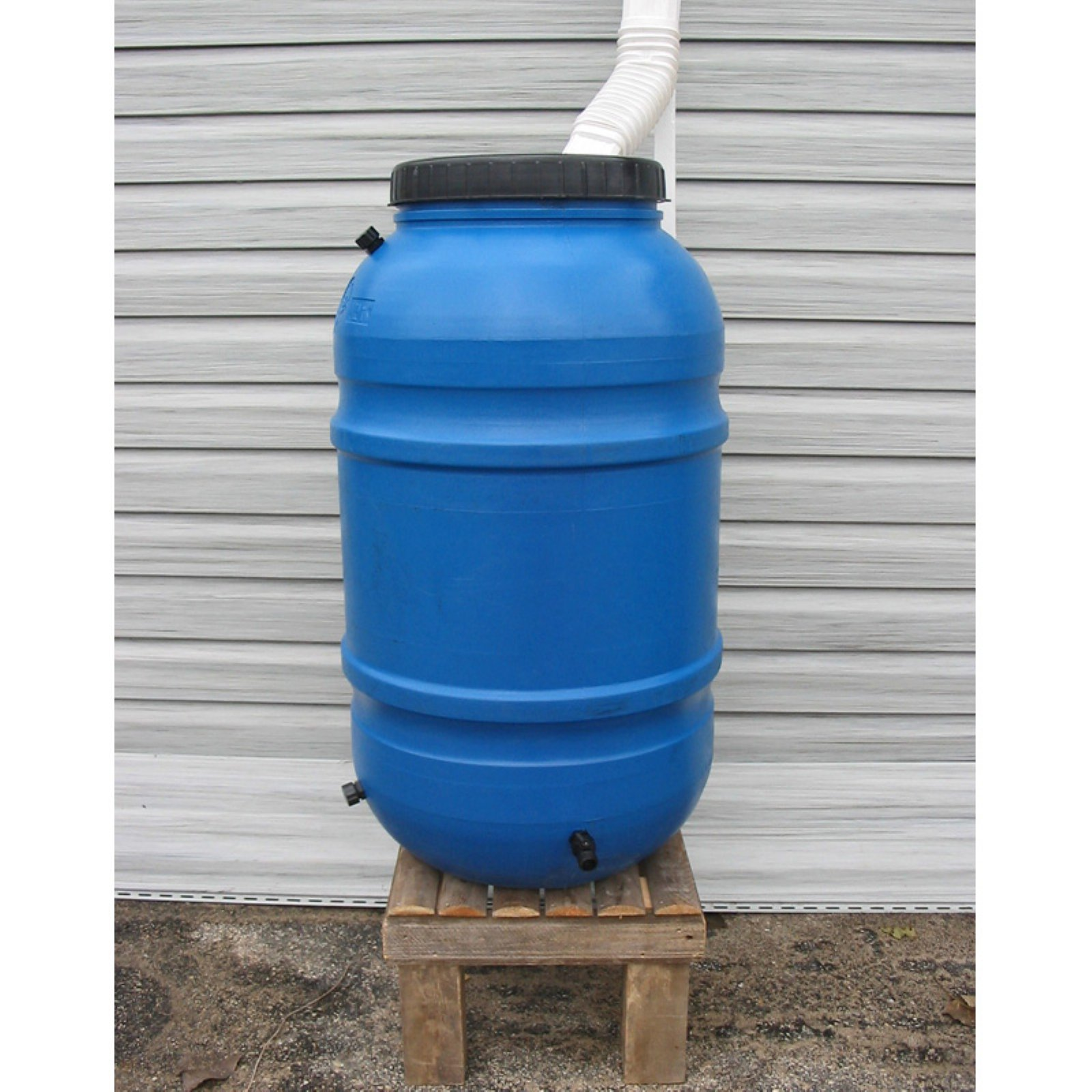 Upcycle 55 Gallon Blue Rain Barrel
