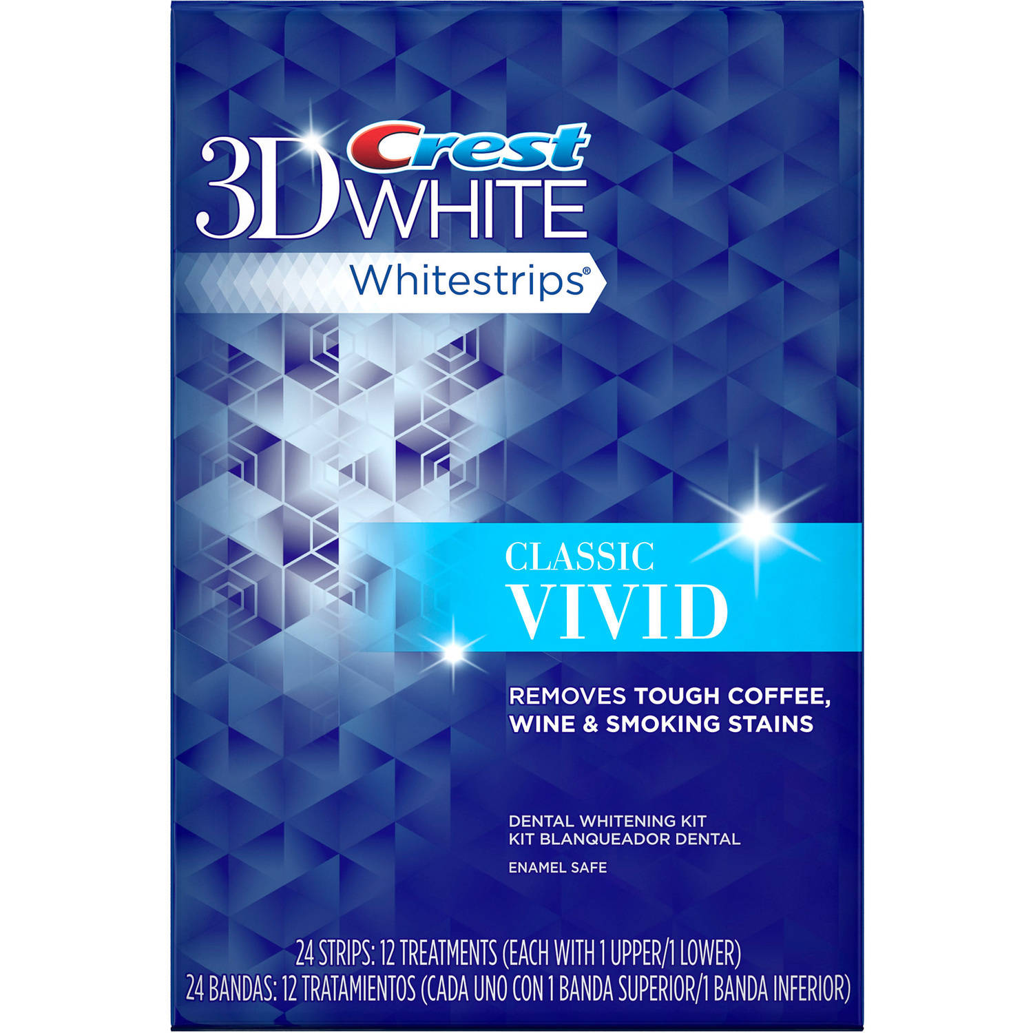 Crest 3D White Classic Vivid Whitestrips Dental Whitening Kit, 24 count