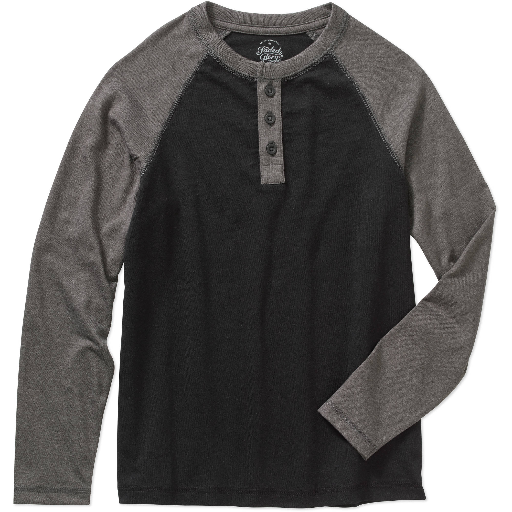 Faded Glory Boys' Long Sleeve Henley Tee