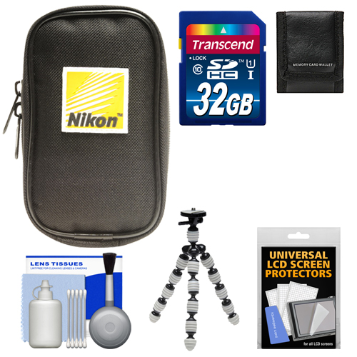 Nikon Coolpix Nylon Digital Camera Carrying Case with 32GB Card + Flex Tripod + Accessory Kit for A, AW110, AW120, P330, P340, S31, S32, S800c, S5300, S6800, S9500, S9700