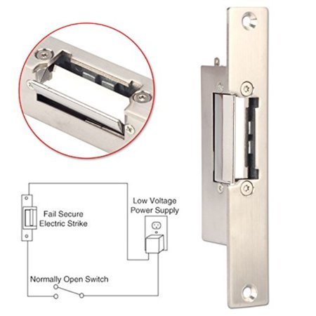 Electric Strike Lock, ZOTER Narrow Type Electric Door Lock for Home Office  Wood Metal Door NO Mode Fail Secure DC 12V Access Control