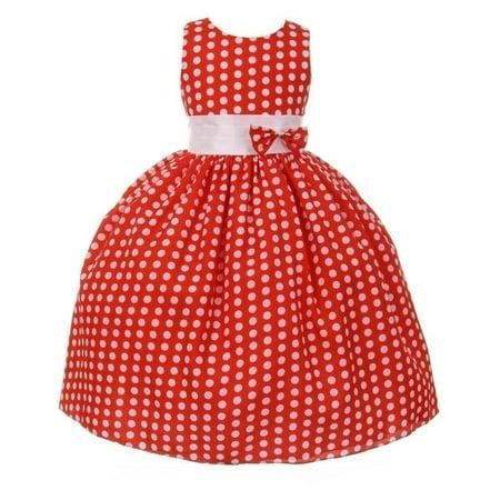 Little Girls Red White Polka Dot Pattern Bow Attached Flower Girl Dress