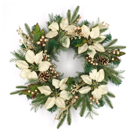 ALEKO Decorative Holiday Christmas Wreath - Green and Gold