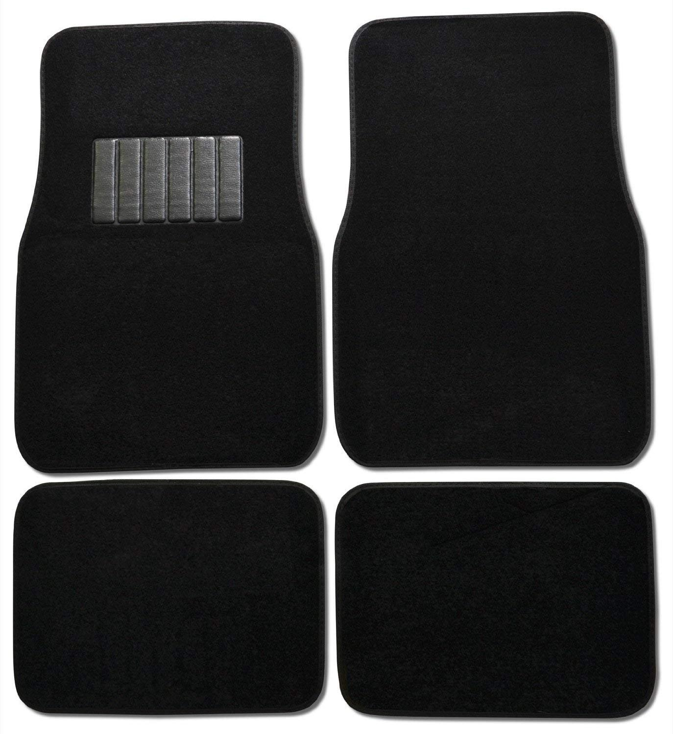 Premium Carpet 4PC Front & Rear Driver Passenger Floor Mats Cars Trucks Sedans SUVs (Black)