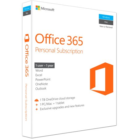 Microsoft Office 365 Personal (1 PC or Mac License / 1-Year Subscription / Product Key Code /