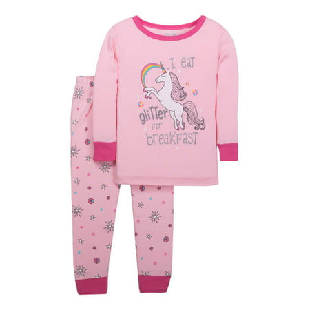 Little Star Organic Baby Toddler Girl Tight Fit 2pc Pajamas