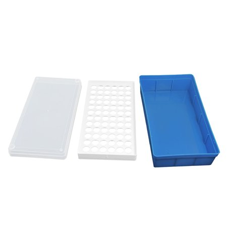 Unique Bargains Unique Bargains White Blue Plastic 72 Positions Laboratory 1.5ml Centrifuge Tube Stand Box