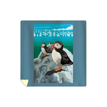Westport, WA. - Puffins - Lantern Press Artwork (88x88 Queen Microfiber Duvet (Westport Kids)