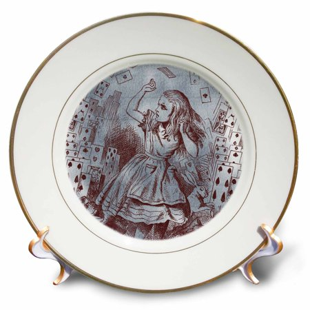 Alice In Wonderland Party Plates And Cups (3dRose Alice with Playing Cards Vintage Alice in Wonderland, Porcelain Plate,)