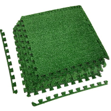 Sorbus Grass Mat Interlocking Floor Tiles – Soft Artificial Grass Carpet – Multipurpose Foam Tile Flooring – Great for Patio, Playroom, Gym, Tradeshow (12 Pieces, Borders)