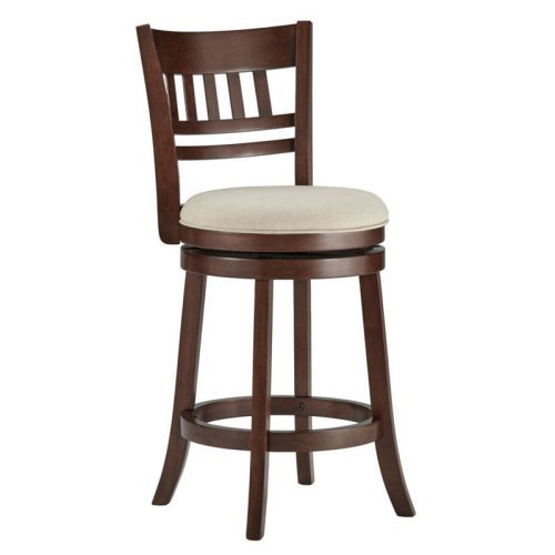 Edmond Collection 24H in. Swivel Counter Height Stool - Vertical Design