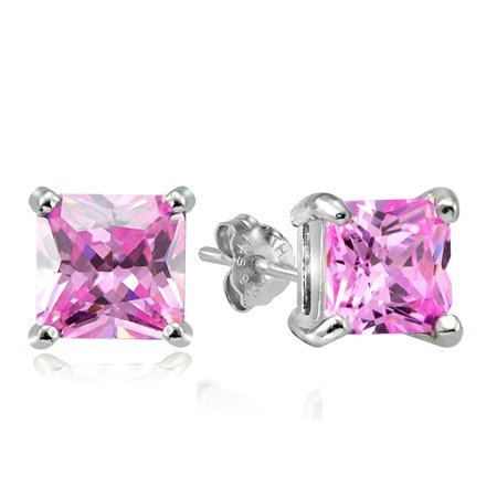 Sterling Silver 11ct Light Pink Cubic Zirconia 10mm Square Stud Earrings