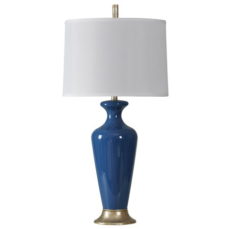 Nampa Table Lamp - Navy Finish - White Hardback Fabric Shade ()