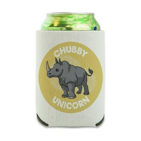 Chubby Unicorn Rhino Rhinoceros Can Cooler - Drink Sleeve Hugger Collapsible Insulator - Beverage Insulated Holder