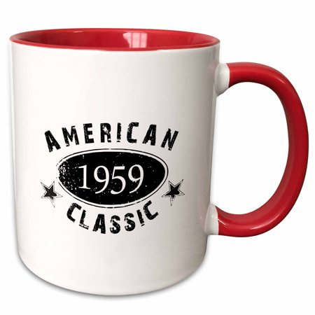 3dRose 1959 American Classic - Personalized Birth Year Birthday gift - black grunge vintage look - funny - Two Tone Red Mug,