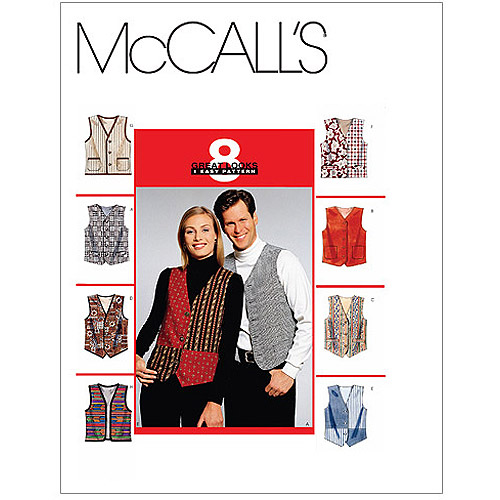 McCall's Pattern Misses' and Men's Lined Vests, (XL)