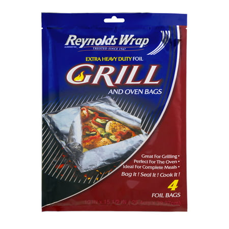 Reynolds Wrap Extra Heavy Duty Foil Grill Oven Bags 4 Count
