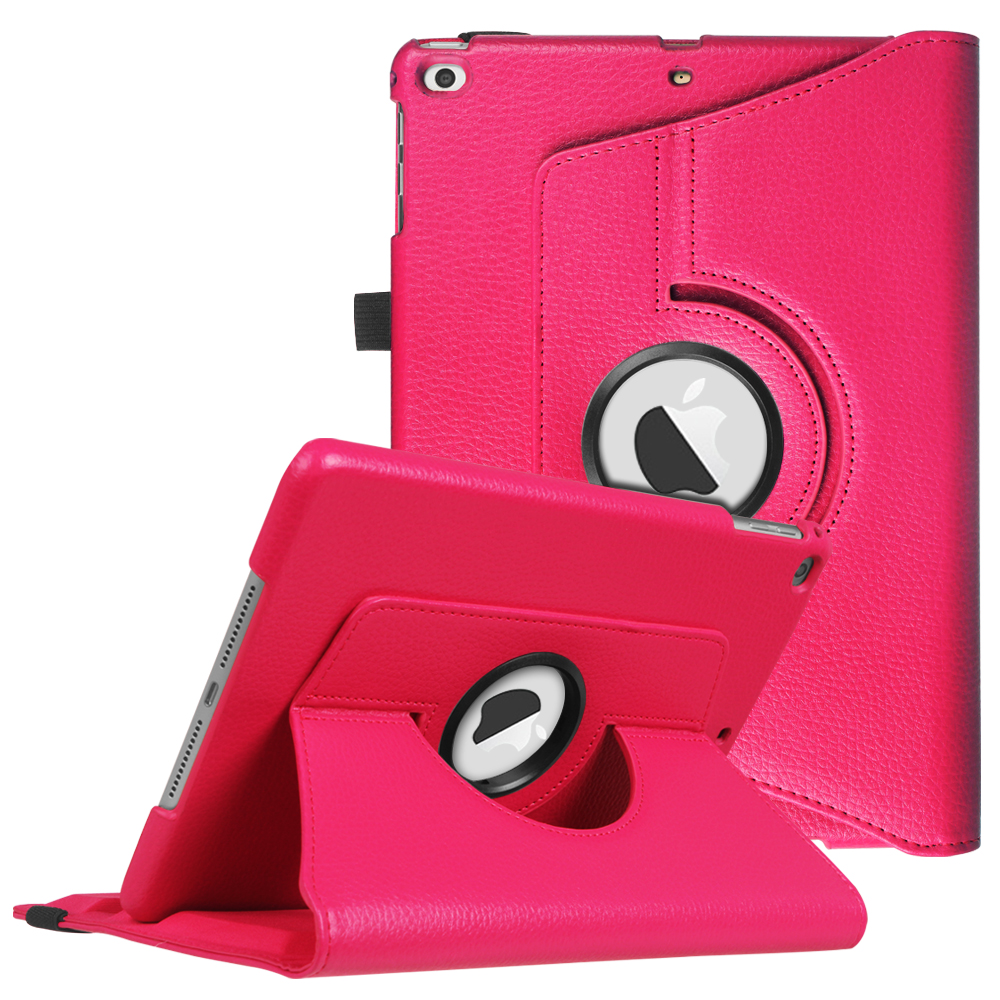 Fintie iPad 6th / 5th Gen, iPad Air /Air 2 Case - 360 Degree Rotating Stand Cover with Auto Sleep Wake, Magenta