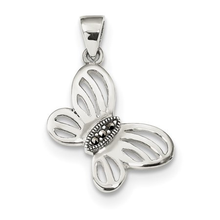- 925 Sterling Silver Marcasite Center Butterfly Pendant Charm Necklace Animal Gifts For Women For Her