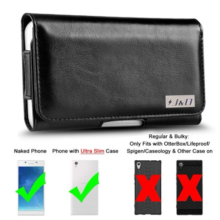 Xperia L1 Holster, J&D PU Leather Holster Pouch Case with Belt Clip, Leather ID Wallet Case for Sony Xperia L1 (Only Fit with Naked Phone/J&D/other Ultra-Slim Case On) - Black (Sony Xperia J Case)
