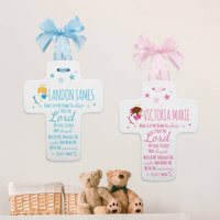 Personalized Bedtime Prayer Ceramic Cross-Available in Pink or Blue