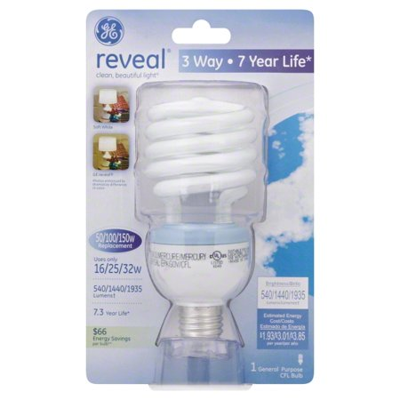 Ge Reveal 16 25 32 Watt 50 100 150 Watt Equivalent 3 Way Cfl Bulb 1 Pack