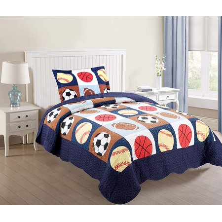MarCielo 2 Piece Kids Bedspread Quilts Set Throw Blanket for Teens Boys Bed Printed Bedding Coverlet, Twin Size, Blue Basketball Football Sports, American Football (Twin) ()