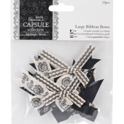 "docrafts Papermania Midnight Blush Large Ribbon Bows 12/Pkg-1.75"" To 2"""