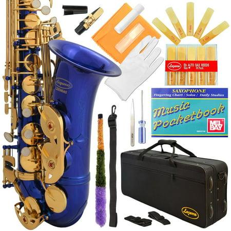 Lazarro® Professional Royal Blue-Gold Keys Eb E Flat Alto Saxophone Sax with 11 Reeds, Case & Many Extras - 360-BU - Flat Alto Saxophone